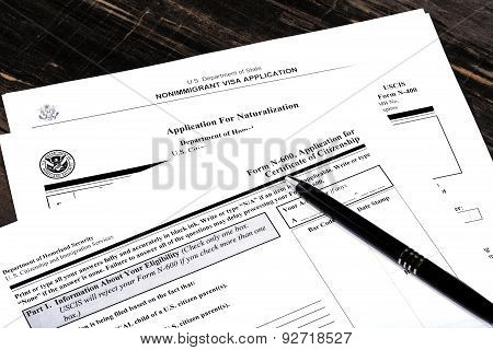Usa Immigration Applications Closeup