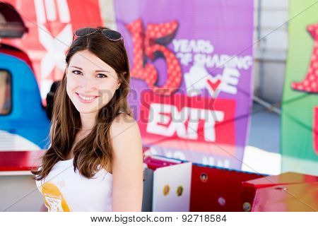 Cute Girl Selling Tickets For Exit Festival 2015 In City Center Of Novi Sad