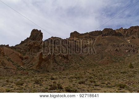 A Scenic View Of Rock Formations On Dry Soil
