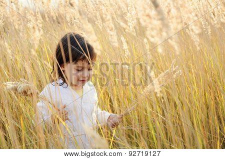 little girl walks on the field