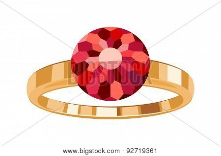 Golden ring with round ruby icon symbol isolated.