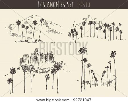 Set of 4 Los Angeles California Engraved Sketches