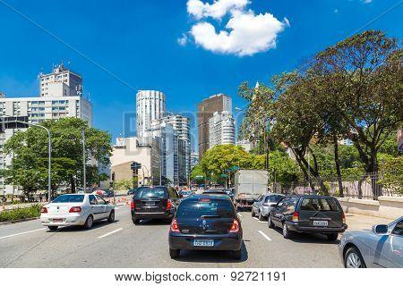 SAO PAULO, BRAZIL - CIRCA JAN 2015: Traffic in Consolacao Avenue in Sao Paulo, Brazil.