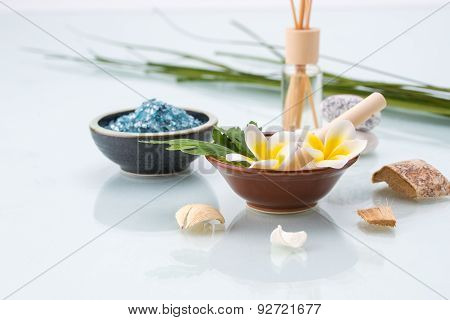 Spa Concept With Mortar And Pestle, Flowers, Leaf, Scented, And Salt