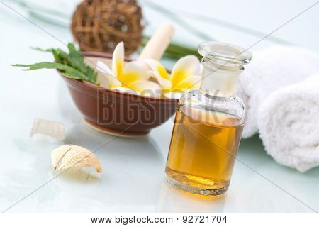 Spa Concept With Handmade Herb, Flowers, Leaf, Essential Oil And Towel