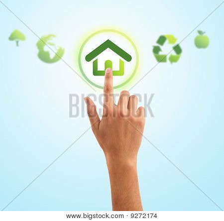 Hand Pressing Home Symbol From Eco Green Icons
