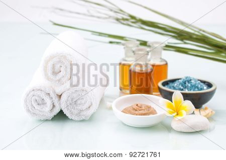 Skincare With Essential Oil, Handmade Mud, Flower And Salt