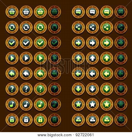 steam punk game icons buttons icons, interface, ui