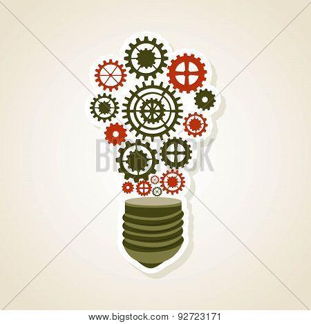 Bulb design over beige background vector illustration