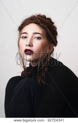Female Model With Dark Red Lips