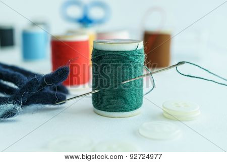 Green Thread In Spool, Closeup