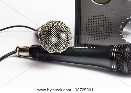 Amplifier close up and microphone