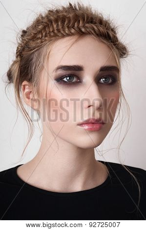 Blonde Model With Smoky Eyes