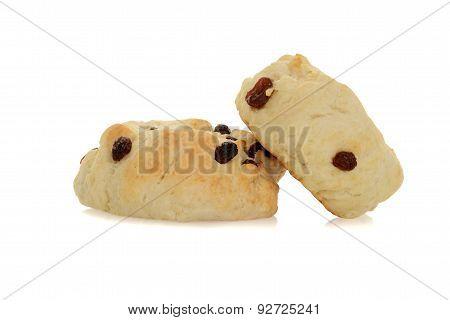 two scones with raisins
