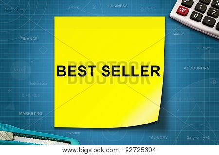 Best Seller Word On Yellow Note