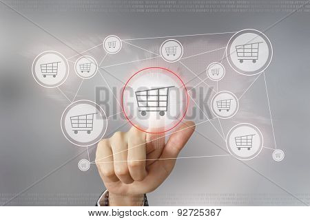 Business Hand Pushing E-commerce Button
