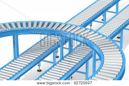 Blue Roller Conveyor System.