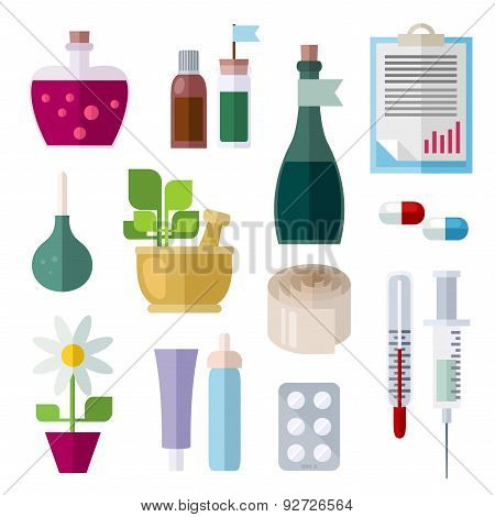 Flat Icons Of Medicine Theme