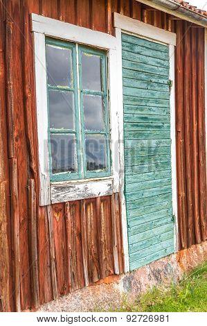 Old Green Cabin Door And Window