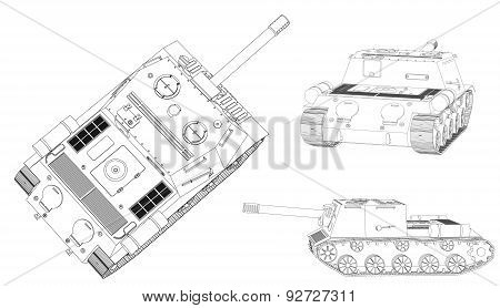 Panzer Self-propelled Artillery Unit Outline Drawing On A White Background