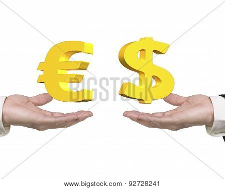 Dollar Sign Euro Symbol On Hands Foreign Exchange Concepts