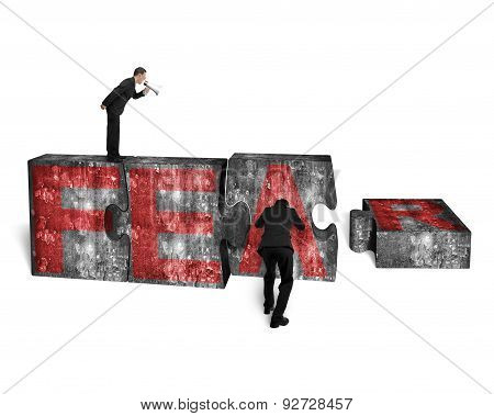 Businessman Speaker Yelling Other Pushing Jigsaw Blocks Red Fear Word
