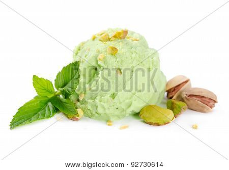 Scoop Of Pistachio Ice Cream With Nuts And Mint