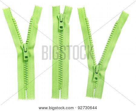 Set Of Green Zipper