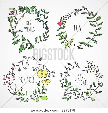 Lovely romantic floral wreaths made in vector