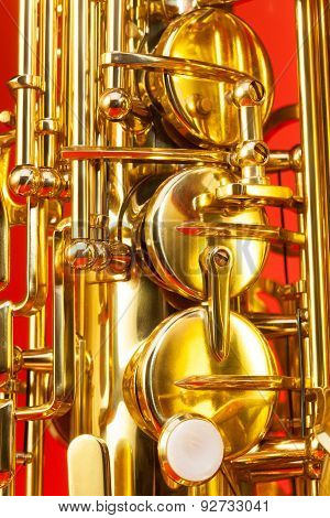 Close-up detailed view of alto saxophone keys
