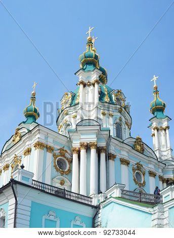 The famous Ukrainian Autocephalous Orthodox Saint Andrew's Church (Andreevskaya). Kyiv Ukraine