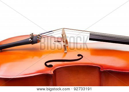 Close-up of cello fragment with bridge and F-holes