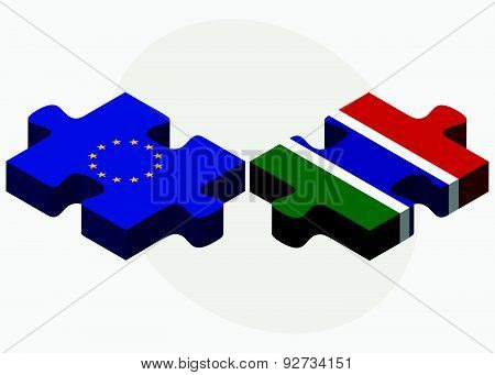 European Union And Gambia Flags In Puzzle Isolated On White Background