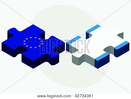 European Union And Guatemala Flags In Puzzle Isolated On White Background