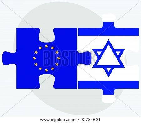 European Union And Israel Flags In Puzzle