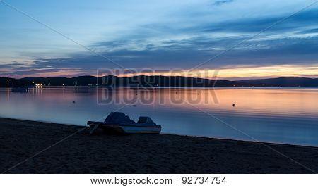amazing evening sky sunset on lake