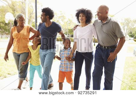 Multi Generation Family Walking In Park Together