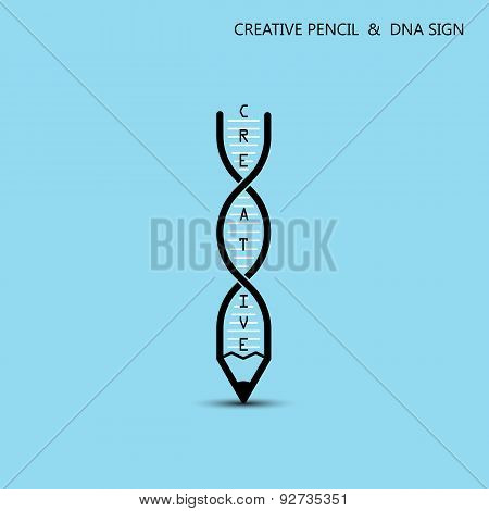Creative Pencil And Dna Symbol. Education And Business Concept.