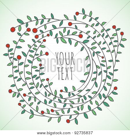 Lovely romantic floral wreath made in vector