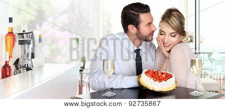 Happy Couple At The Bar With Champagne And Strawberry Cake, Love Concept