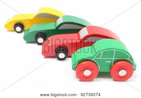 Colorful Toy Cars Isolated On White Background