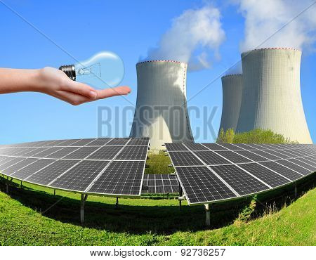 Solar energy panels with nuclear power plant