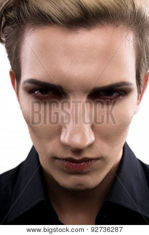 Serious Male Model With Makeup