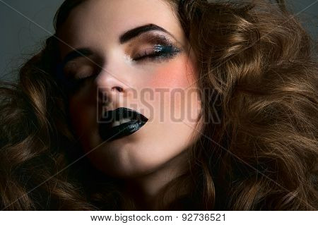 Dreamy Beauty Girl With Smoky Eyes And Black Lips
