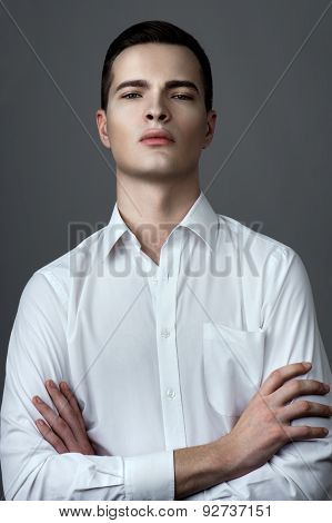 Man In Shirt With Unbuttoned Buttons