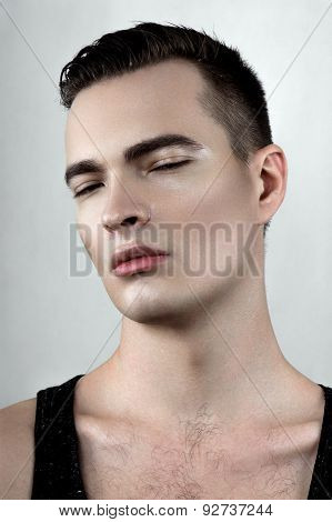 Perspiring Male Model