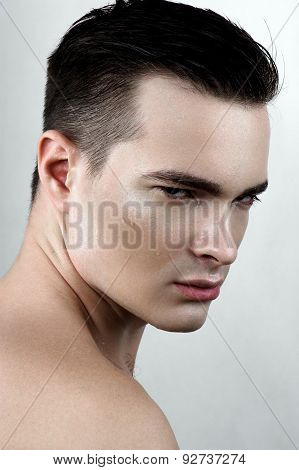 Fashion Male Model With Drops On Face