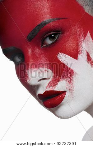 Beautiful Female Model With Halloween Makeup