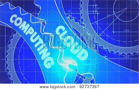 Cloud Computing Concept. Blueprint of Gears.
