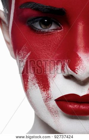 Halloween Beauty Model With Red Lips And Blood On Face